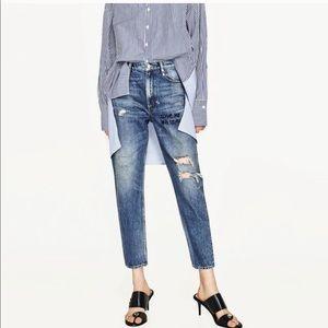 """Zara Boyfriend """"love me or leave me"""" Denim Jeans"""